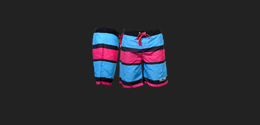 Board Shorts Striped Pink/Blue XXL
