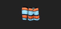 Board Shorts Striped Orange/Turquoise S