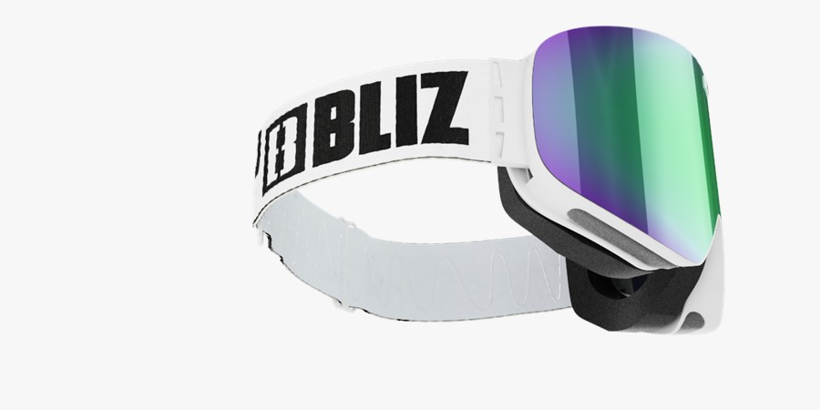 Flow Goggles - White with green multi lens