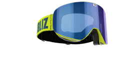 Flow Goggles - Lime green with blue multi lens