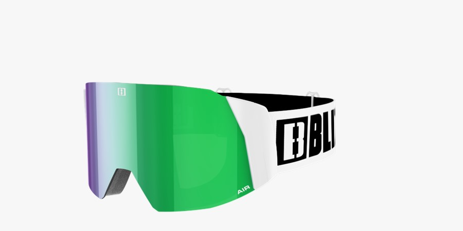 Air Goggles - White with green multi lins